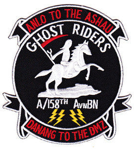 ARMY 158th Aviation Battalion A Company Military Patch ANLO TO THE ASHAU GHOST RIDERS DANANG TO THE DMZ