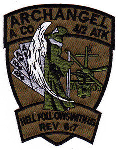 ARMY 4th Battalion 2nd Attack Aviation Regiment A Company Air Cavalry Military Patch ARCHANGEL HELL FOLLOWS WITH US REV. 6:7 OD