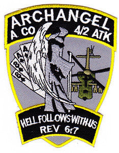 ARMY 4th Battalion 2nd Attack Aviation Regiment A Company Air Cavalry Military Patch ARCHANGEL HELL FOLLOWS WITH US REV. 6:7