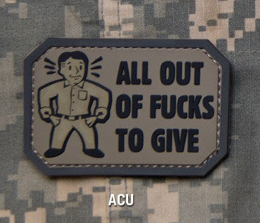 ALL OUT F's TO GIVE - ACU - TACTICAL COMBAT BADGE MORALE PVC RUBBER VELCRO MILITARY PATCH