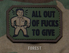 ALL OUT F's TO GIVE - FOREST - TACTICAL COMBAT BADGE MORALE PVC RUBBER VELCRO MILITARY PATCH