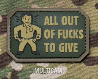 ALL OUT F's TO GIVE - MULTICAM - TACTICAL BADGE MORALE PVC RUBBER VELCRO MILITARY PATCH
