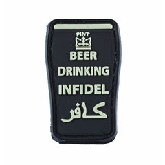 BEER DRINKING INFIDEL PINT 3D PVC HOOK BACKING PATCH - BLACK