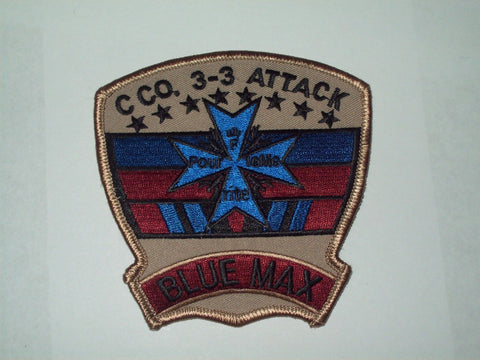"3-3rd C Co ARMY AVIATION ATTACK MILITARY PATCH ""BLUE MAX"" BROWN/BLUE"