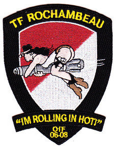 "ARMY 1st Battalion 227th Aviation Regiment 1st Air Cavalry Division Military Patch OIF 06-08 TF ROCHAMBEAU ""IM ROLLING IN HOT!"" HELLFIRE MISSILE"