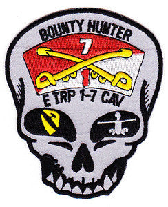 ARMY 1st Squadron 7th Air Cavalry Aviation Attack Regiment Echo Troop Military Patch BOUNTY HUNTER
