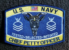NAVY Chief Petty Officer Rank Military Patch CPO TESTED SELECTED INITIATED
