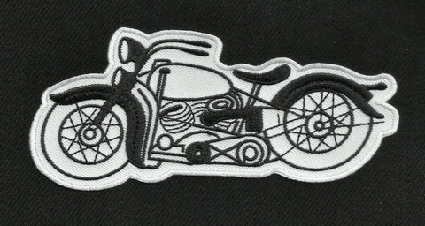 Vintage Style 50s Motorcycle Biker Patch - White