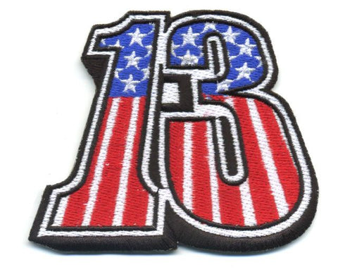 Number Thirteen 13 USA Flag Vintage Style Patch