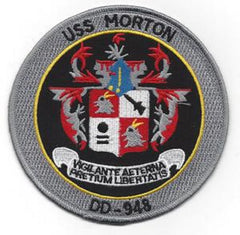 DD-948 USS MORTON Forest Sherman - Class Destroyer Military Patch VIGILANTE AETERNA PRETIUM LIBERTATIS