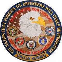 BACK PATCH FALLEN HEROES IN MEMORY OF TROOPS DEFENDERS EAGLE BIKER MILITARY