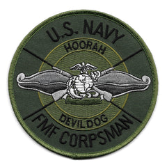 USMC FMF CORPSMAN DEVIL DOG USN HOORAH MILITARY PATCH