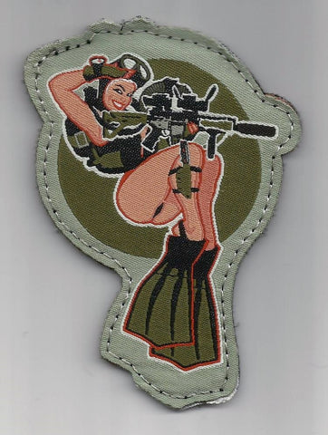 DIVE GIRL COLOR TACTICAL COMBAT MORALE MILITARY PATCH