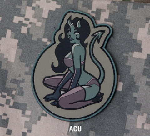DEVIL GIRL Hook Backing Pin UP PVC Rubber Patch - ACU