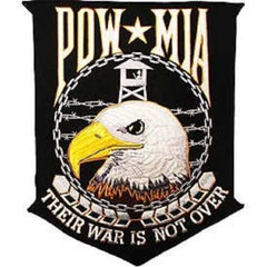 BACK PATCH US ARMED SERVICE EAGLE POW MIA THEIR WAR IS NOT OVER BIKER MILITARY