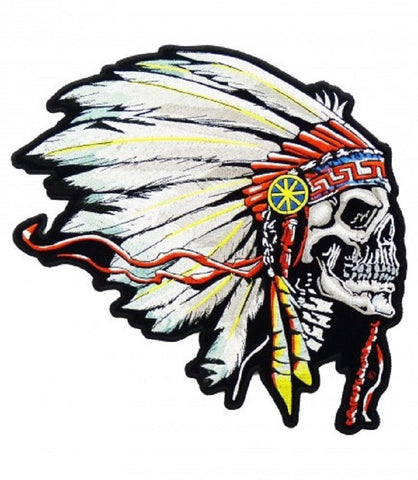 FEATHERED INDIAN CHIEF HEAD DEATH SKULL PATCH