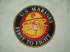 LARGE BACK PATCH BULL DOG US MARINE CORPS FIRST TO FIGHT