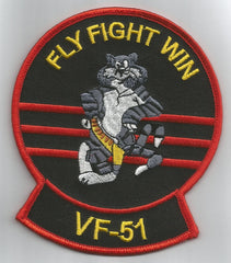 "NAVY F-14 TOMCAT ""FLY FIGHT WIN"" VF - 51 MILITARY PATCH - SCREAMING EAGLES"