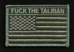 FUCK THE TALIBAN USA FLAG VELCRO MORALE PATCH - ACU LIGHT