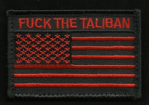 FUCK THE TALIBAN USA FLAG VELCRO MORALE PATCH - Black & Red