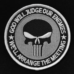 "GOD WILL JUDGE OUR ENEMIES PUNISHER TACTICAL MORALE VELCRO PATCH 3.5"" - SWAT"