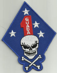 1st MARINE DIVISION GUADALCANAL DEATH SKULL MILITARY PATCH - FIRST MARINE USMC