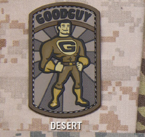 GOODGUY TACTICAL COMBAT BADGE MORALE PVC RUBBER VELCRO MILITARY PATCH - DESERT