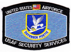 UNITED STATES AIR FORCE USAF SECURITY SERVICES COMMAND MOS MILITARY PATCH DEFENSOR FORTIS