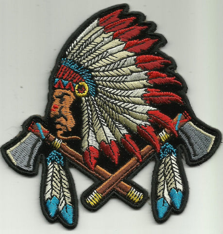 Indian Chief Head with Battle Axes and Feathers Patch