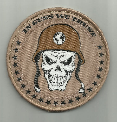 IN GUNS WE TRUST - SKULL HOOK BACKING PATCH DESERT