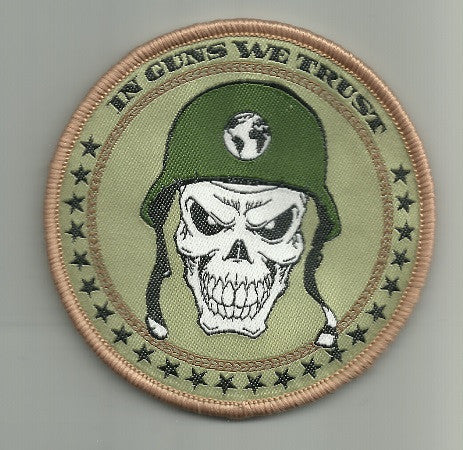 IN GUNS WE TRUST - SKULL HOOK BACKING PATCH MULTICAM