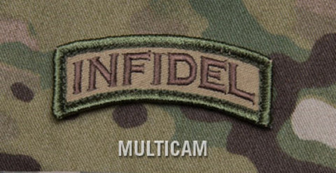 INFIDEL TAB / ROCKER COMBAT TACTICAL BADGE MORALE VELCRO MILITARY PATCH - MULTICAM