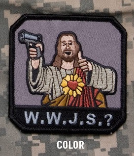 W.W.J.S.? - COLOR - BLACK OPS TACTICAL COMBAT BADGE MORALE VELCRO MILITARY PATCH