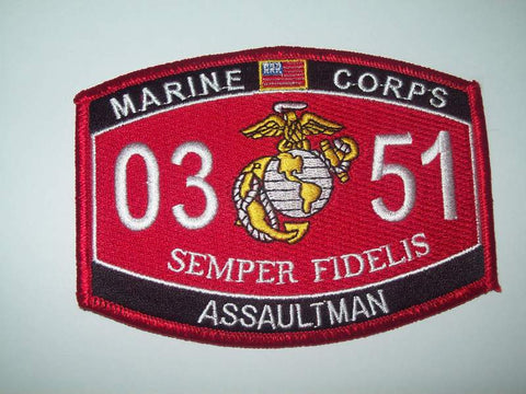 United States Marine Corps 's Military Occupational Specialty 0351 Assaultman MOS Military Patch