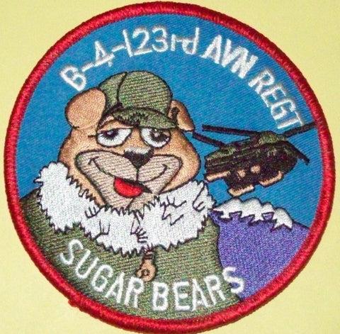 "ARMY B Company 4th Battalion123rd AVIATION REGIMENT FLIGHT ""SUGAR BEARS""  MILITARY PATCH"