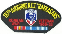 "187th AIRBORNE R.C.T. ""RAKKASANS"" KOREAN WAR VETERAN HAT / SHOULDER MILITARY PATCH"