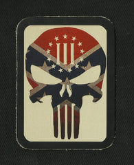 PUNISHER III% PATRIOT REBEL CONFEDERATE FLAG LEATHER PATCH