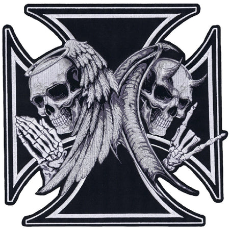 Large Devil Angel Death Skull Iron Cross Back Patch