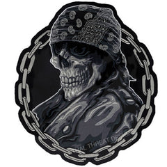 Large Bandana Death Skull Chain Back Patch