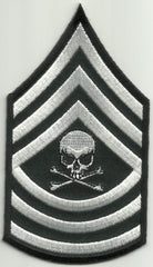 MASTER SERGEANT DEATH SKULL ARM RANK PATCH - WHITE
