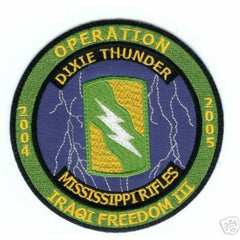 ARMY - Mississippi Rifles Dixie Thunder Military Patch OIF III