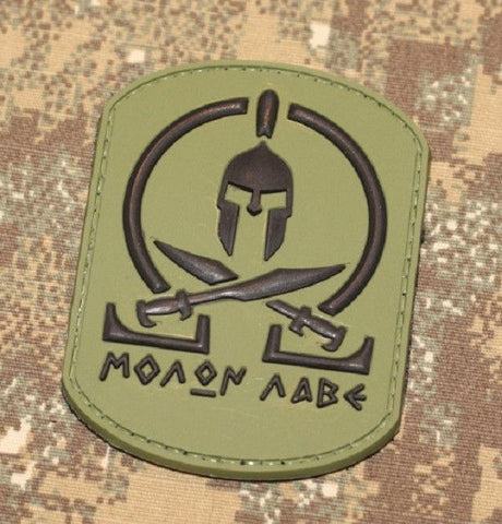 MOLON LABE SPARTAN PVC MORALE TACTICAL COMBAT PATCH - OD GREEN