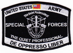 ARMY Special Forces Military Occupational Specialty MOS Military Patch DE OPPRESSO LIBER THE QUIET PROFESSIONAL
