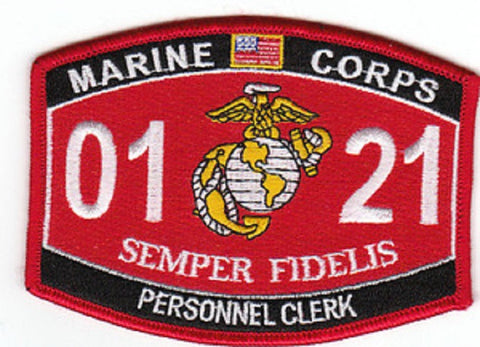 0121 PERSONNEL CLERK USMC MOS MILITARY PATCH SEMPER FIDELIS