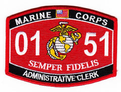 "USMC ""ADMINISTRATIVE CLERK"" 0151 MOS MILITARY PATCH SEMPER FIDELIS"