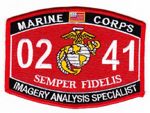 "USMC ""IMAGERY ANALYSIS SPECIALIST"" 0241 MOS MILITARY PATCH SEMPER FIDELIS"