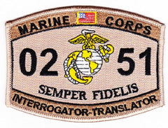0251 INTERROGATOR TRANSLATOR USMC MOS MILITARY PATCH - SEMPER FIDELIS - DESERT