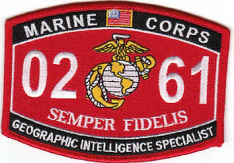"USMC ""GEOGRAPHIC INTELLIGENCE SPECIALIST"" 0261 MOS MILITARY PATCH SEMPER FIDELIS"