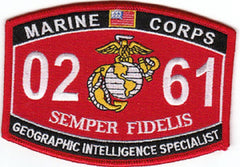 0261 GEOGRAPHIC INTELLIGENCE SPECIALIST USMC MOS MILITARY PATCH SEMPER FIDELIS