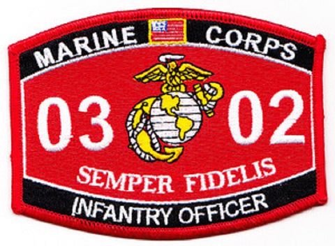 "USMC ""INFANTRY OFFICER"" 0302 MOS MILITARY PATCH SEMPER FIDELIS"